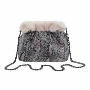 Cosy-Concept-Fur-Olga-Printed-Leather-Snake-Black-White-Mink-OldRose-1900-dkk